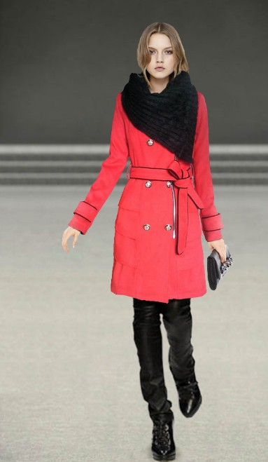 Burberry Womens Scarf Trench Coat Red