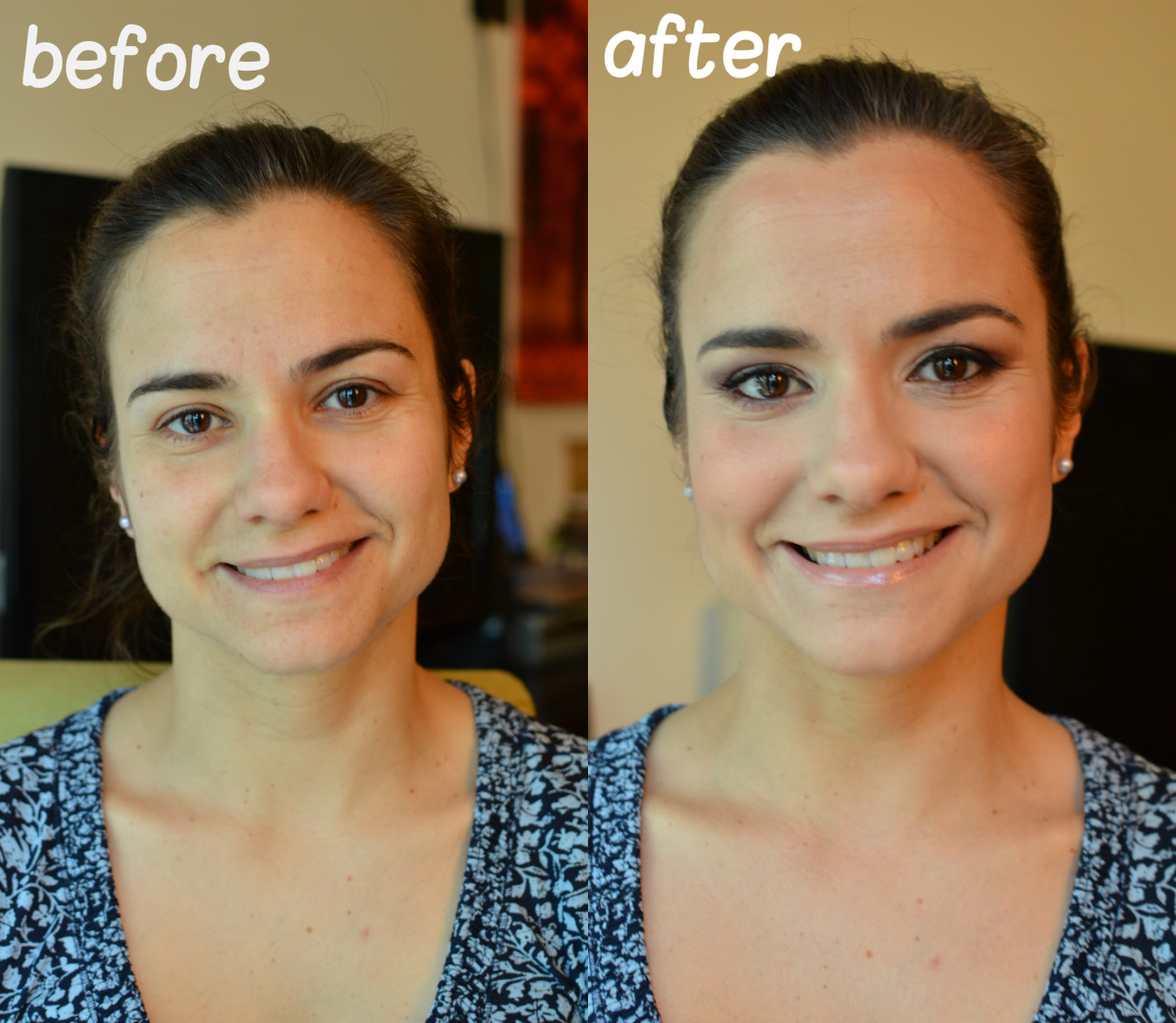 Before after make up Raquel