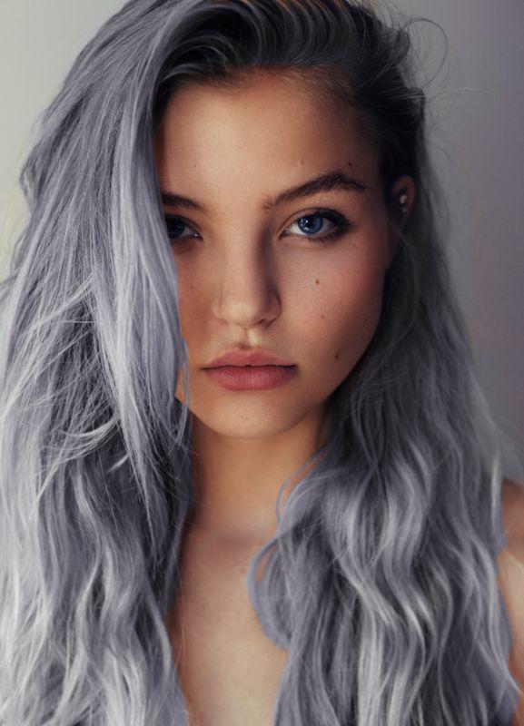 Grey chic long hair