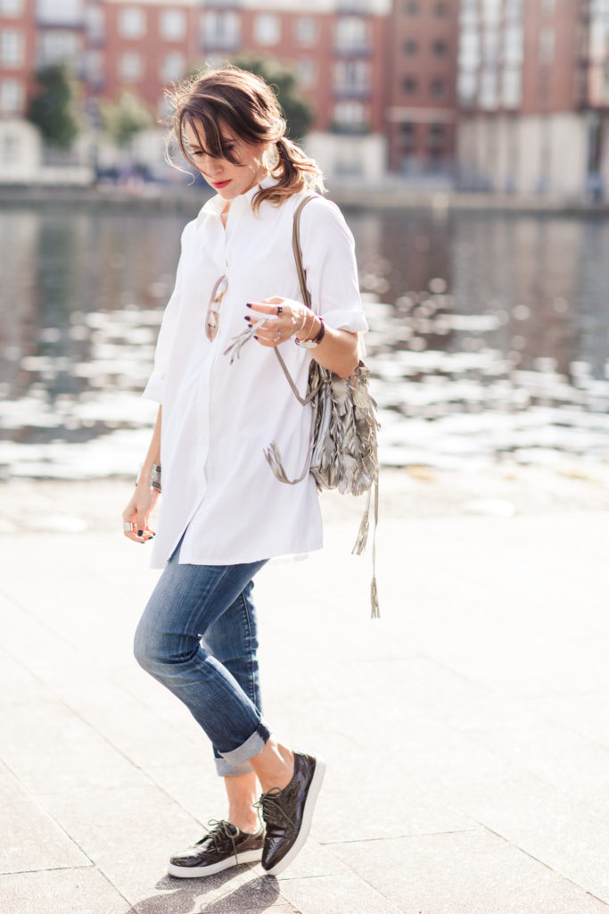 white shirt and jeans