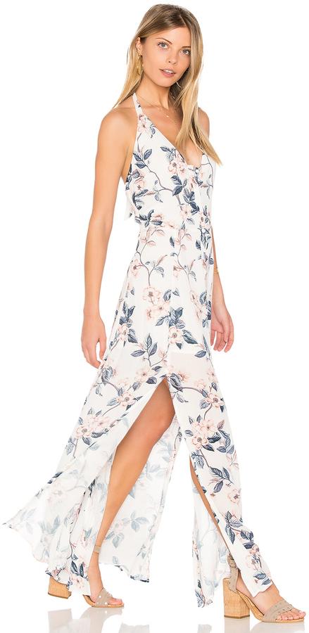 floral white blue dress