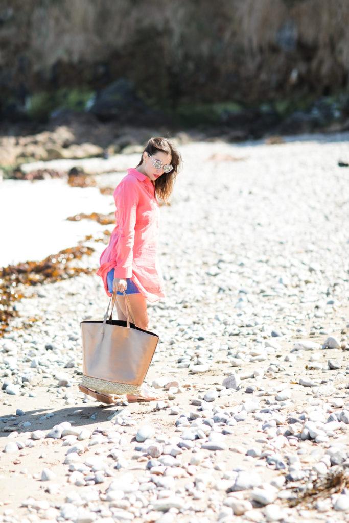 rose gold beach bag