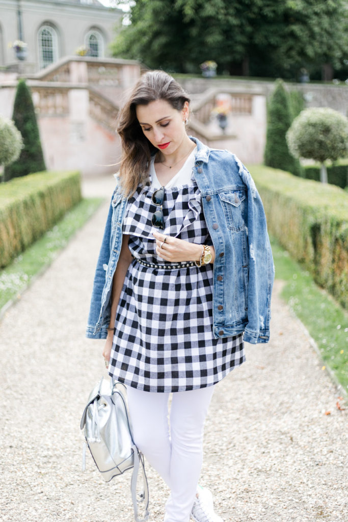 jean jacket and gingham dress