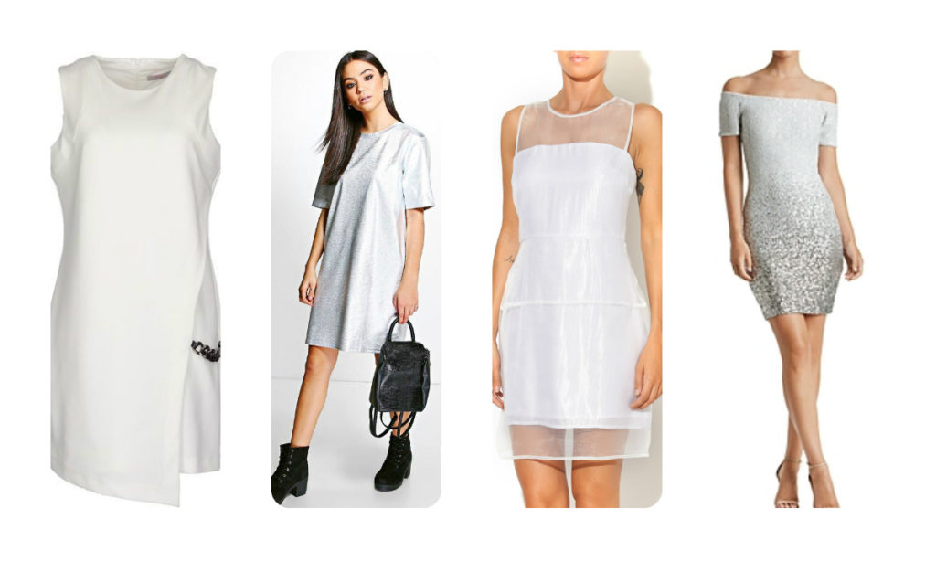 collage white silver dress