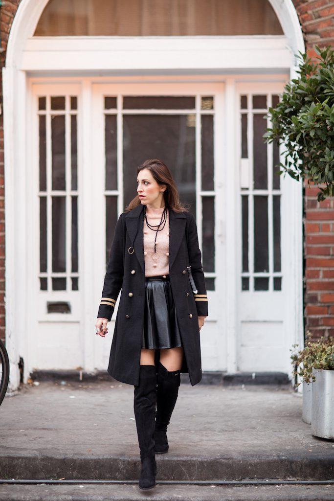 Black coat for winter