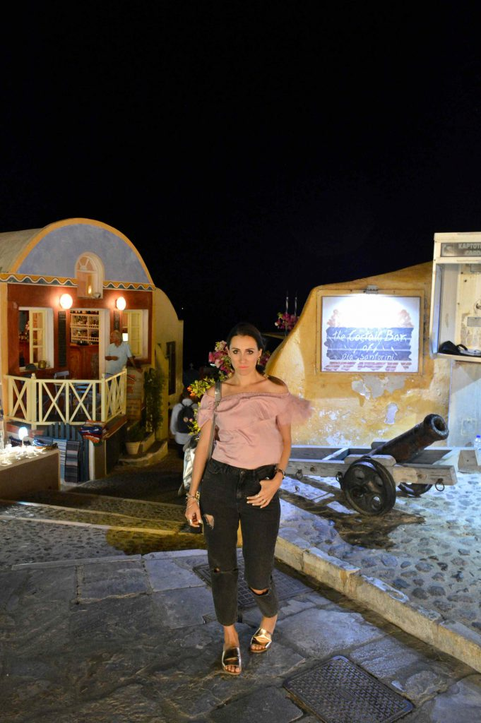 Oia at night time