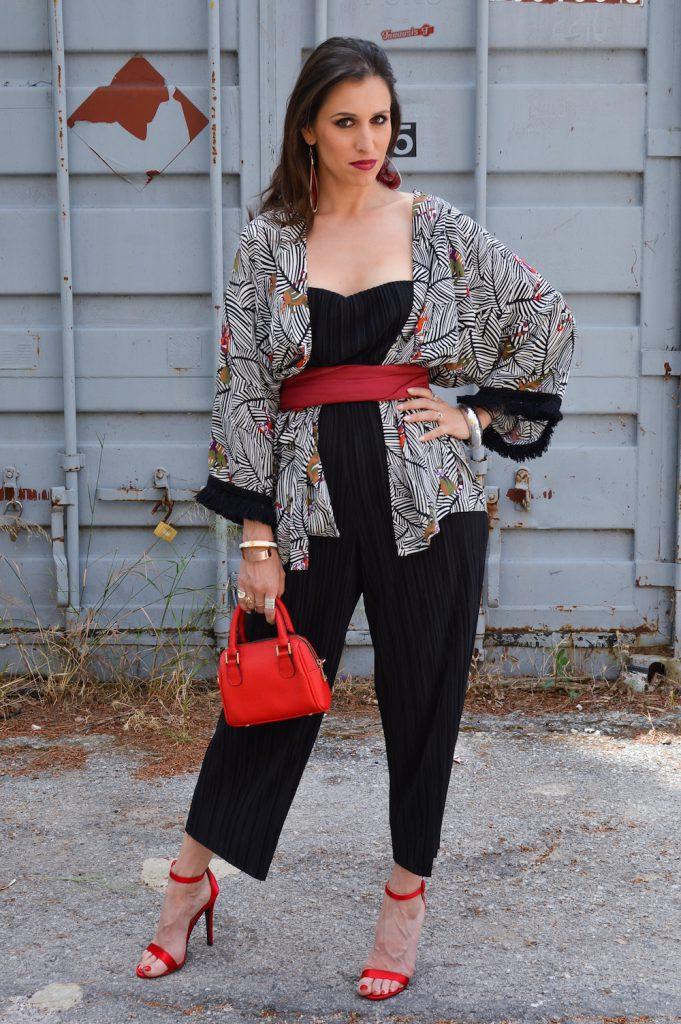 black jumbsuit and kimono