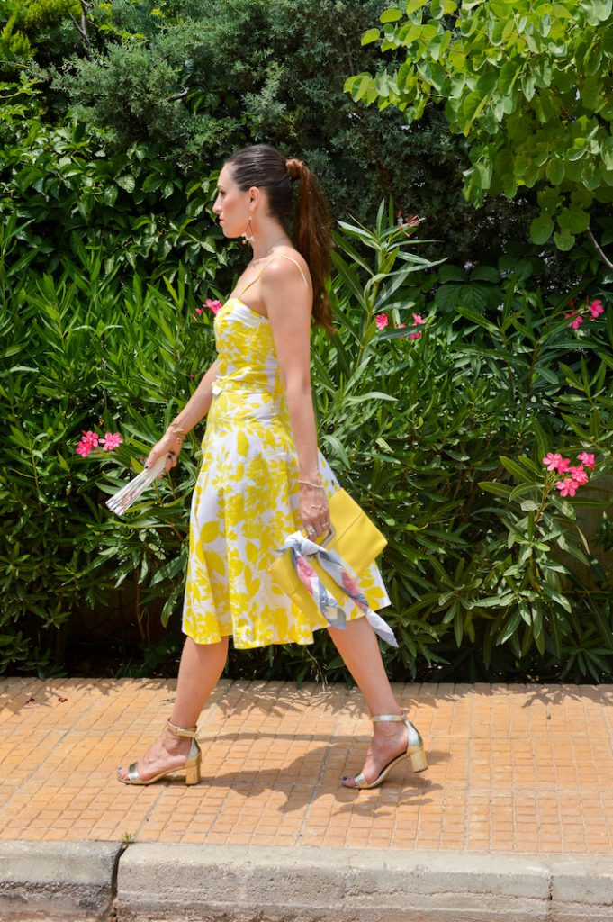 athens street style yellow dress