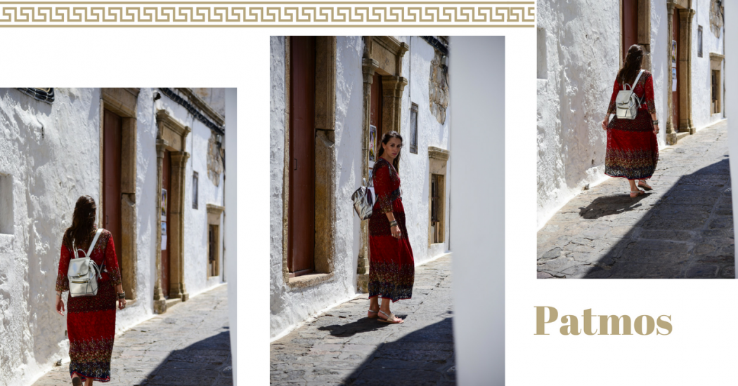 Red dress in patmos cover