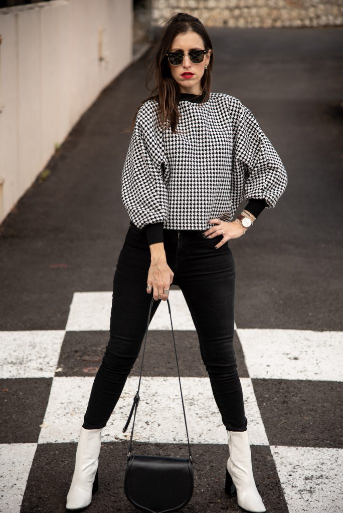 dog tooth top and black pants